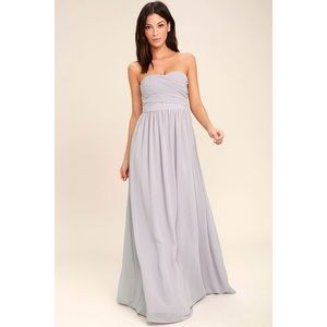 Lulu's All Afloat Strapless Gray Maxi Dress. NWT